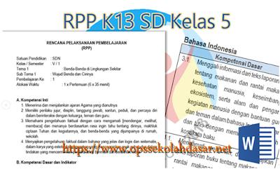 Rpp Kurikulum 2013 SD Kelas 5 Revisi Terbaru 2017/2018