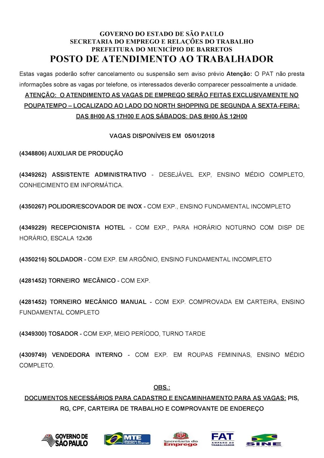 VAGAS DE EMPREGO DO PAT BARRETOS-SP PARA 05/01/2018 SEXTA-FEIRA