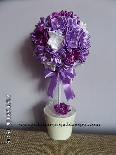 drzewko, prezent, na szczęście, wstązka, fiolet, biały, doniczka, gips, kula styropianowa, 15 cm