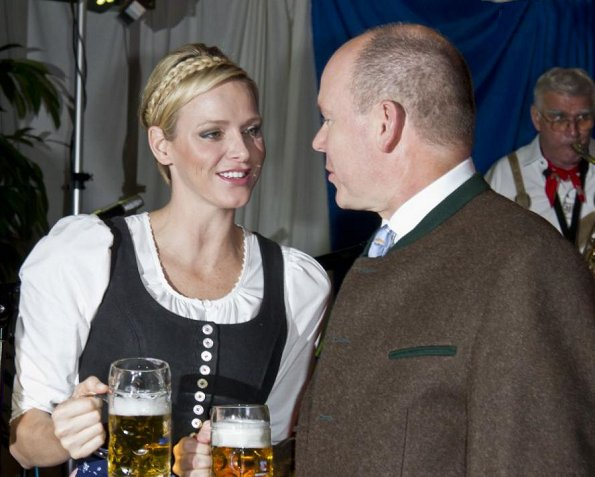 Prince Albert and Princess Charlene attend the opening of the 7th Oktoberfest at the Cafe de Paris at Place of Casino