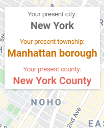 The info panel shows your current county