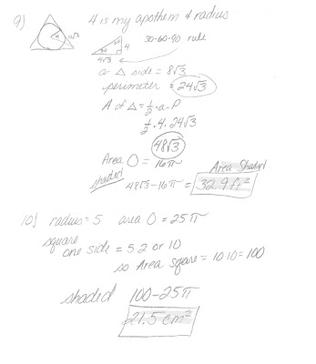 Math Classes Spring 2012: Geometry Homework 11.3 and 11.4