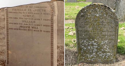 Pictures of the same headstone taken a century apart