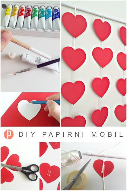 DIY papirni mobil za dječju sobu u obliku srca