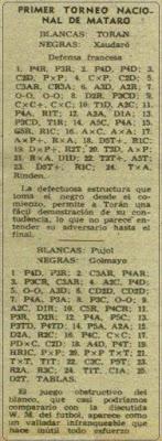 Recorte de la revista Destino con partidas del I Torneo Nacional de Ajedrez de Mataró 1948