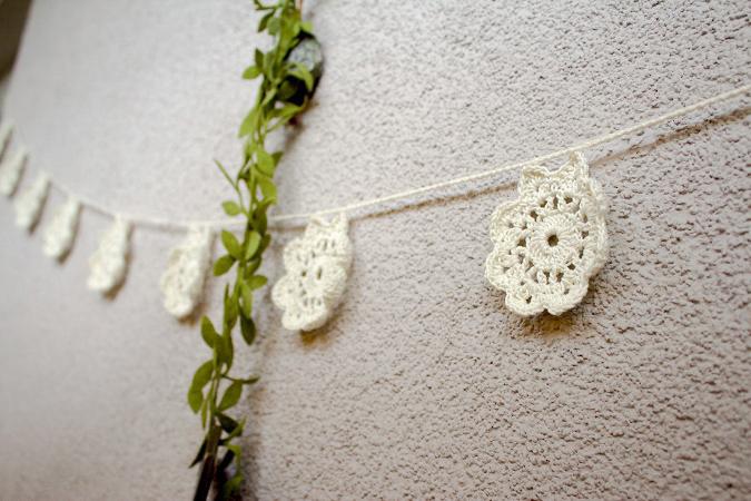 Girlande Balkon Häkeln Blumen DIY Deko