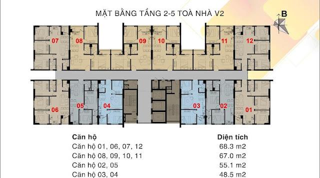 Mặt bằng tòa V2 Tầng 2-5