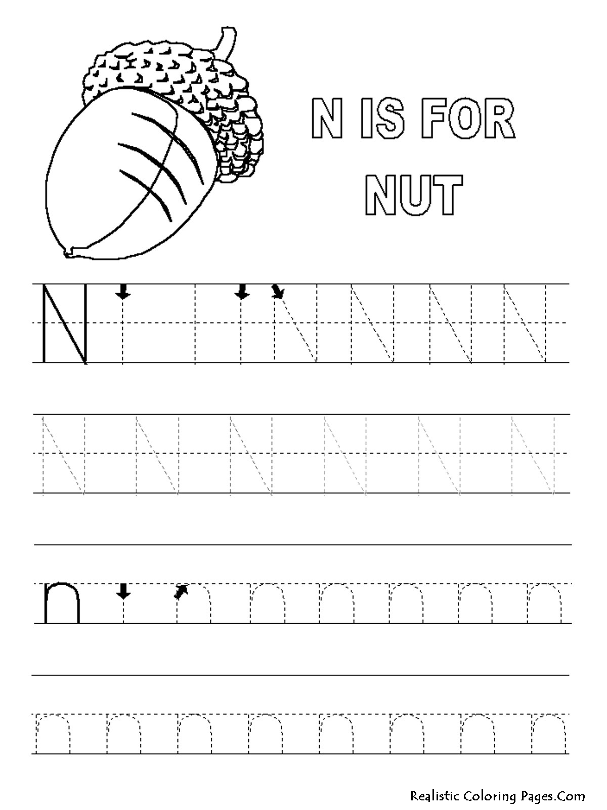 N Letters Alphabet Coloring Sheet