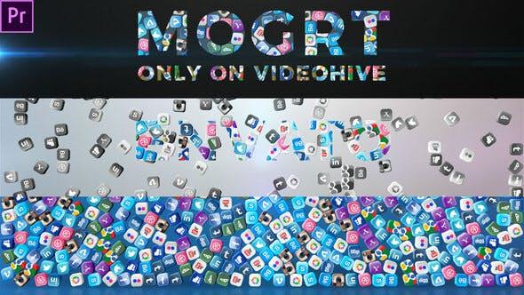 Falling Social Icons - Title Reveal (Mogrt)   Premiere Pro