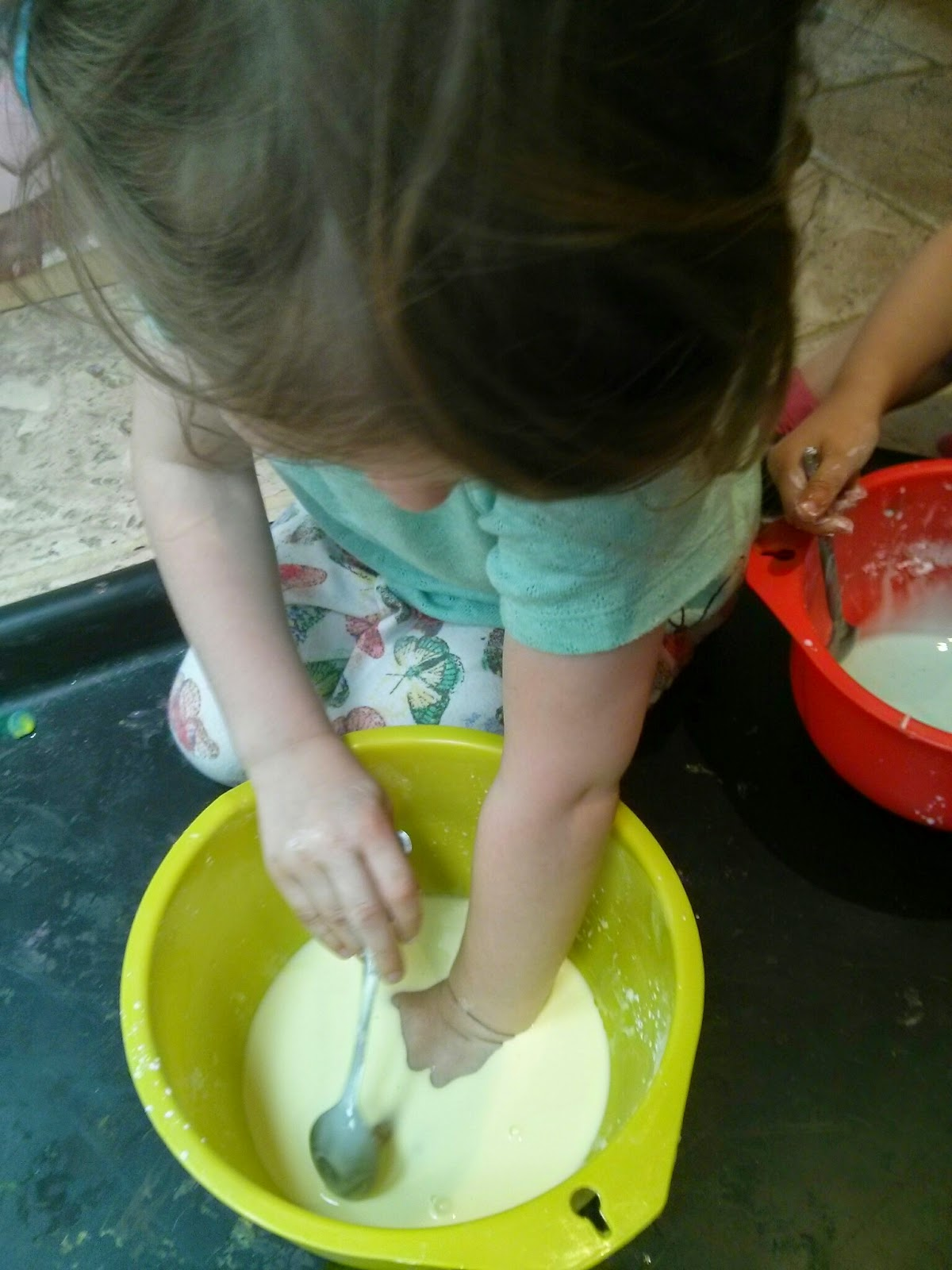 using hands in gloop