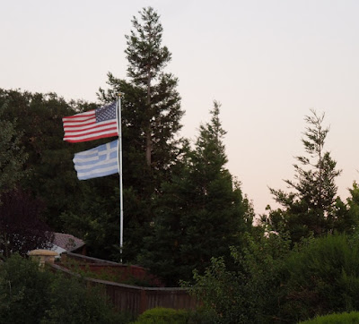 Flags of United States and Greece as Seen On Vineyard Drive in Templeton, © B. Radisavljevic