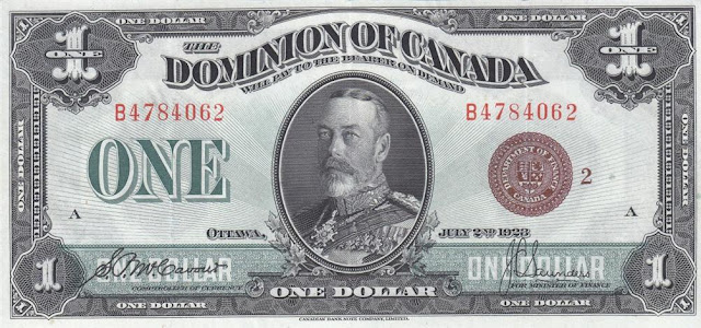 Dominion of Canada currency money King George V dollar banknote bill