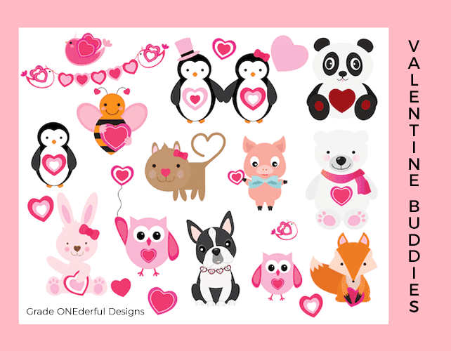 Valentine Animals Clip Art Set