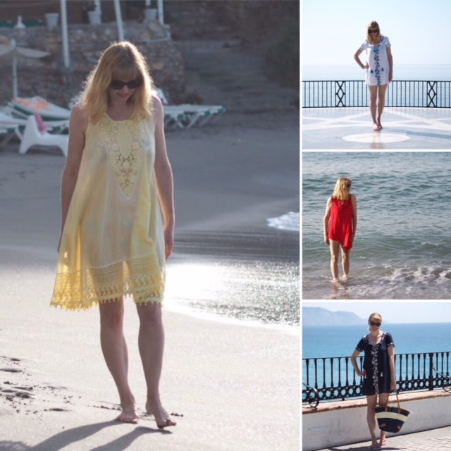 Yellow beach dress, embroidered kaftans, beach cover-ups, over 40