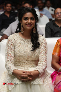 Actress Keerthi Suresh Pictures in Long Dress at Rail Movie Audio Launch  0002