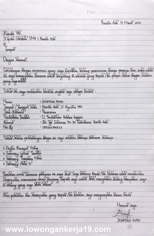 Gambar untuk Contoh Surat Lamaran Kerja Umum Tulis Tangan