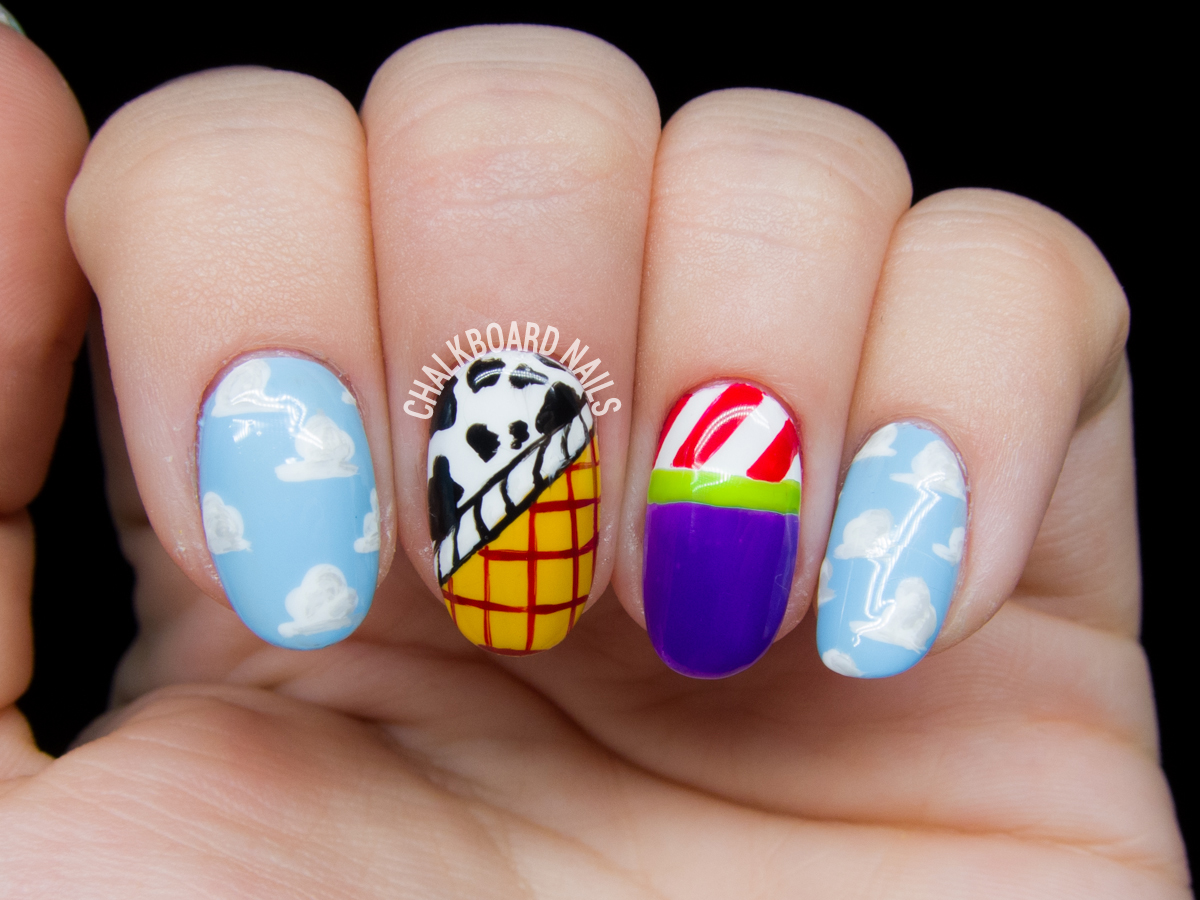 Toy Story nail art by @chalkboardnails