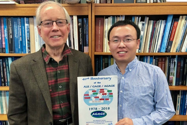 Image Attribute: Using atmospheric emissions taken by the global network AGAGE, Ronald Prinn (left) and Xuekun Fang (right) have identified rising emissions of chloroform that may pose a new threat to ozone recovery. Courtesy of the researchers/MIT