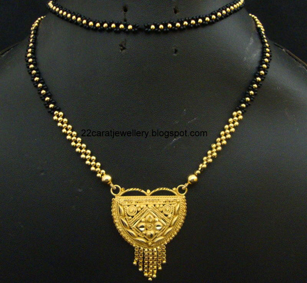 22 Carat Nallapusalu Black Beads Jewellery Jewellery Designs