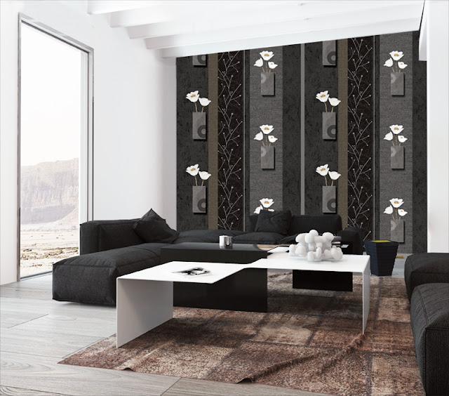 Mẫu giấy dán tường phòng ngủ màu đen này phù hợp với mọi diện tích phòng ngủ