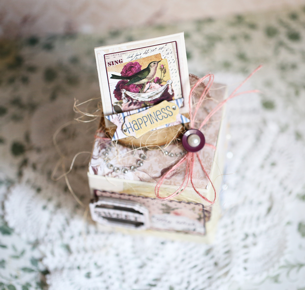 Gift Box by Evgenia Petzer uisng Bo Bunny Rose Cafe Collection