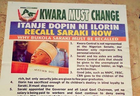 Posters To RECALL Bukola Saraki Flood Kwara, See Photos