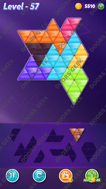 Block! Triangle Puzzle 7 Mania Level 57 Solution, Cheats, Walkthrough for Android, iPhone, iPad and iPod