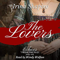 "The Lovers audiobook cover. A woman in 17th century dress, a striped gown with fitted bodice, stands behind a red banner reading ""the lovers"". In the background is the ominous figure of a plague doctor 'quack'."