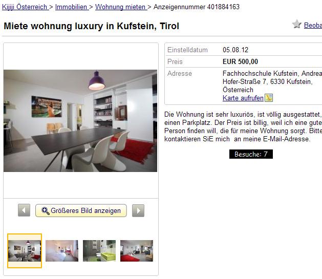 wohnungsbetrugblogspotcom Miete wohnung luxury in Kufstein Tirol Wohnung zur Miete