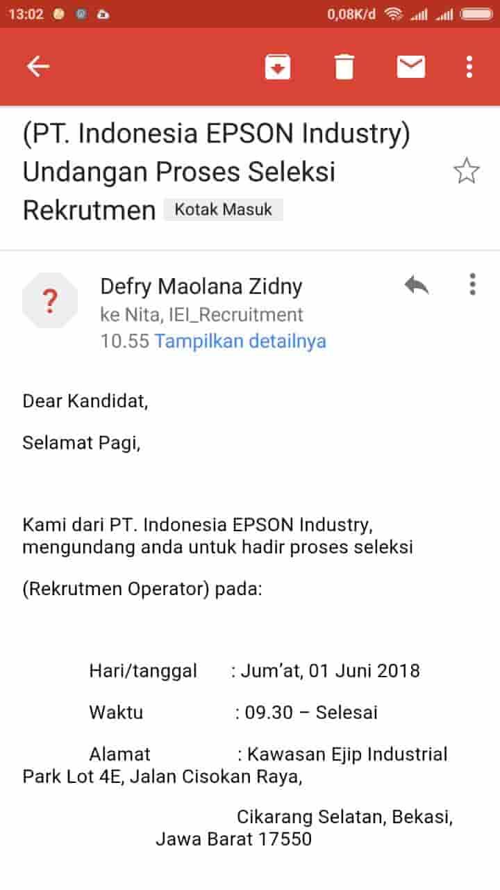 Pt Indonesia Epson Industry Loker Via Email Dan Jobstreet