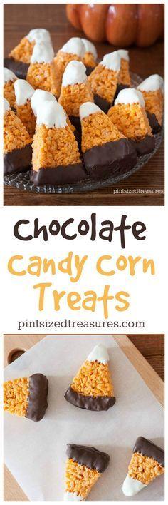 Chocolate Dipped Candy Corn Rice Crispy Treats