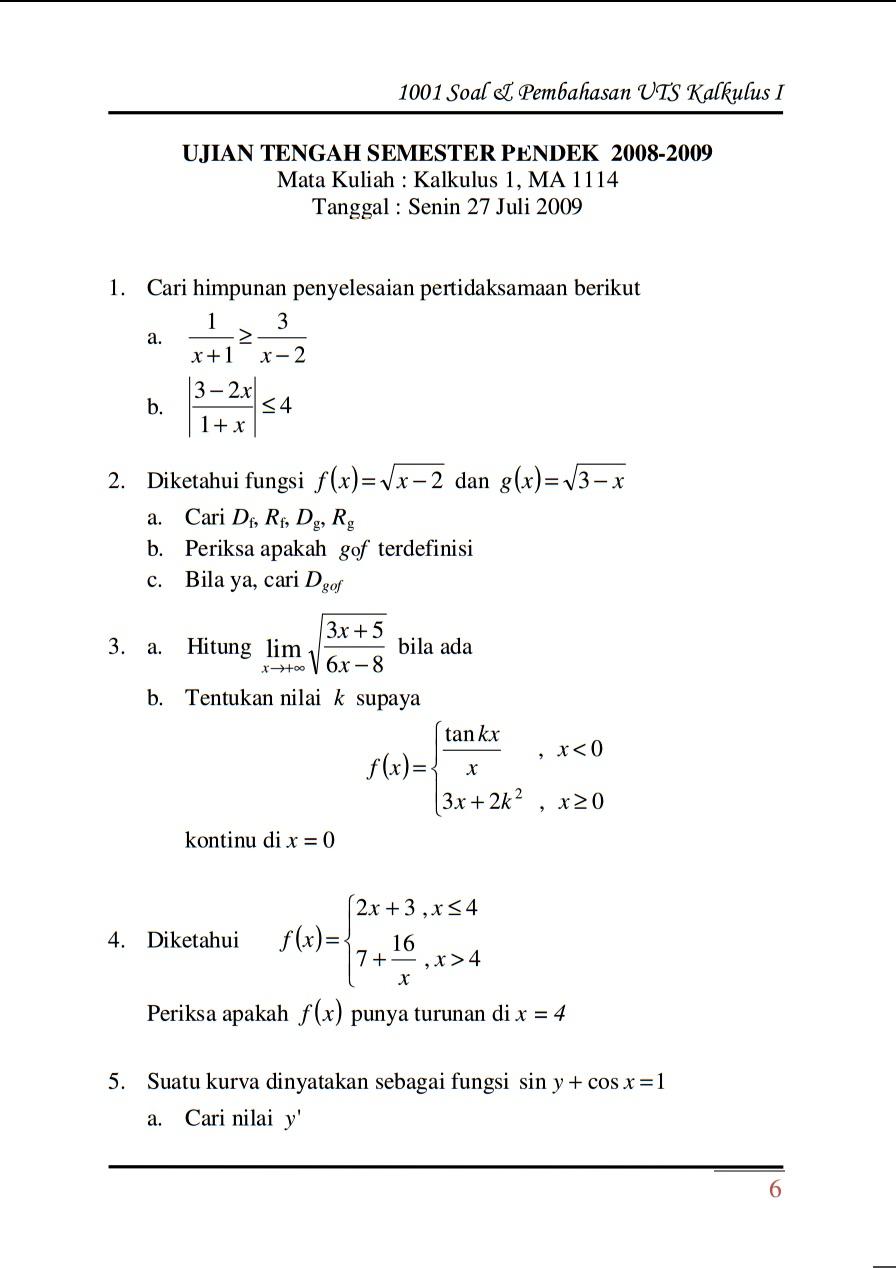 Soal Dan Pembahasan Kalkulus 2 Pdf Peatix