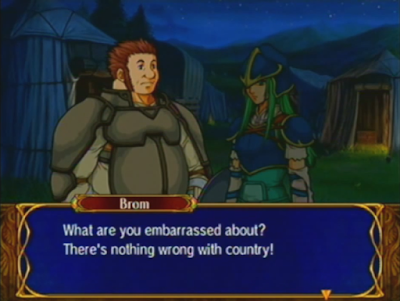 Fire Emblem: Path of Radiance - Nephenee Brom A level support conversation nothing wrong with country