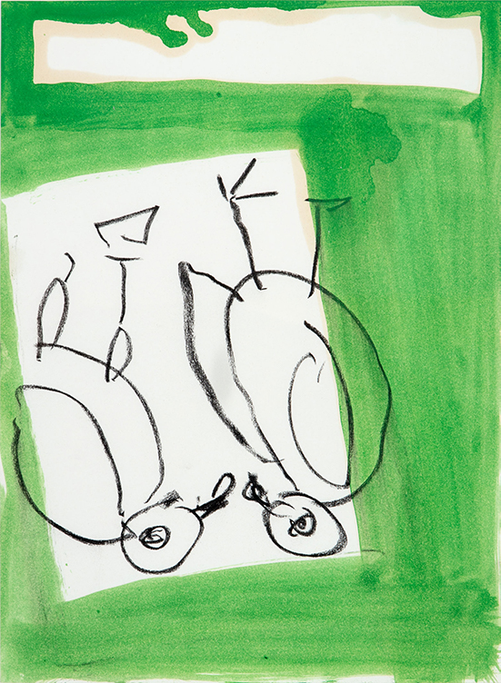 Georg Baselitz   Untitled (Lettre International), 1989 Oil, charcoal on paper  37 x 27.5 cm