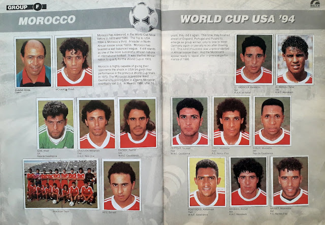 WORLD CUP USA '94 STICKER ALBUM COLLECTION GROUP F MAROCCO