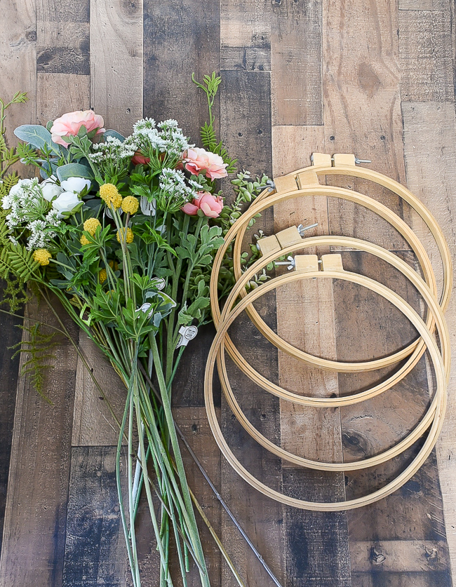 suppiles to make vintage quilt hoop wreaths