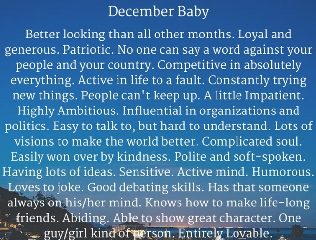 behaviour of december born people