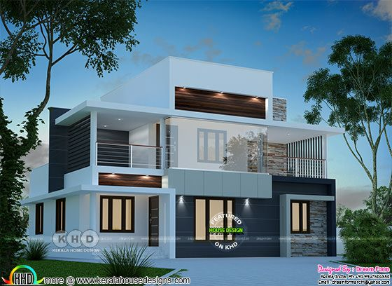 1900 square feet 5 BHK modern flat roof home