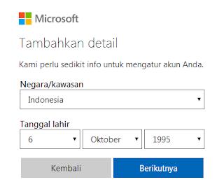 Masukkan Negara Email Outlook