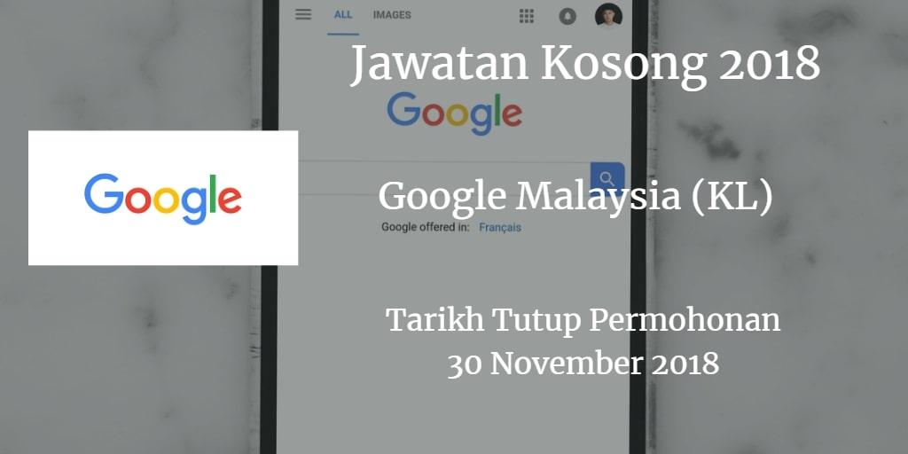 Jawatan Kosong Google Malaysia (KL) 30 November 2018