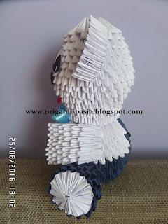miś, z papieru, biały, granatowy, origami modułowe, 3d, segmentowe, modelowanie, papier,