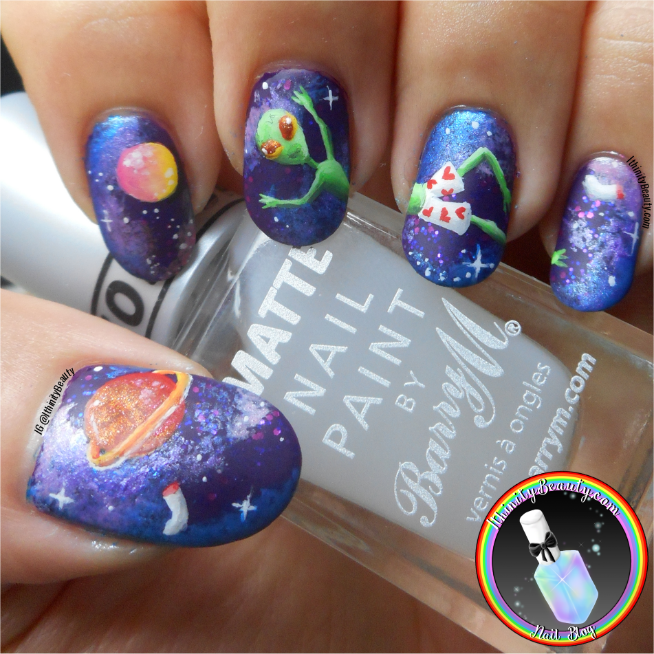 Freehand Alien Nail Art Into Space Ithinitybeauty Com Nail Art Blog