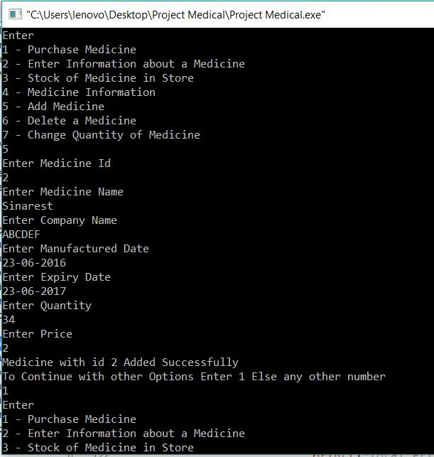 Medical Store Project in C output