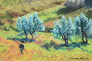Childhood in Casignano - Pastel Art of olive trees in Tuscany