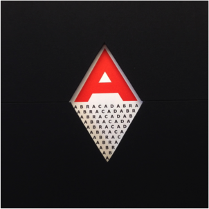 "A black field with a diamond cut out of the center, exposing a red capital ""A"" and several rows of the word ""Abracadabra,"" less and less visible through the shape of the cut-out."