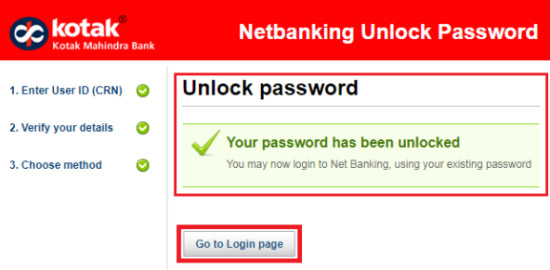 how to unlock kotak bank net banking login password