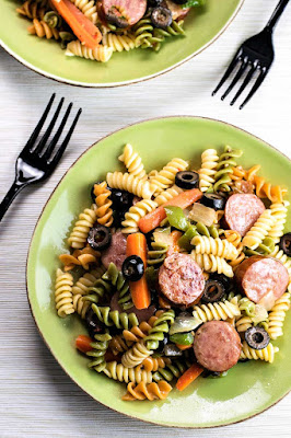 http://homemadehooplah.com/recipes/smoked-sausage-pasta-salad/