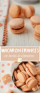 Macaron francés sin harina de almendras, elaborado con una base de merengue francés y coco deshidratado sustituyendo a la harina de almendras |  www.bizcochosysancochos.com