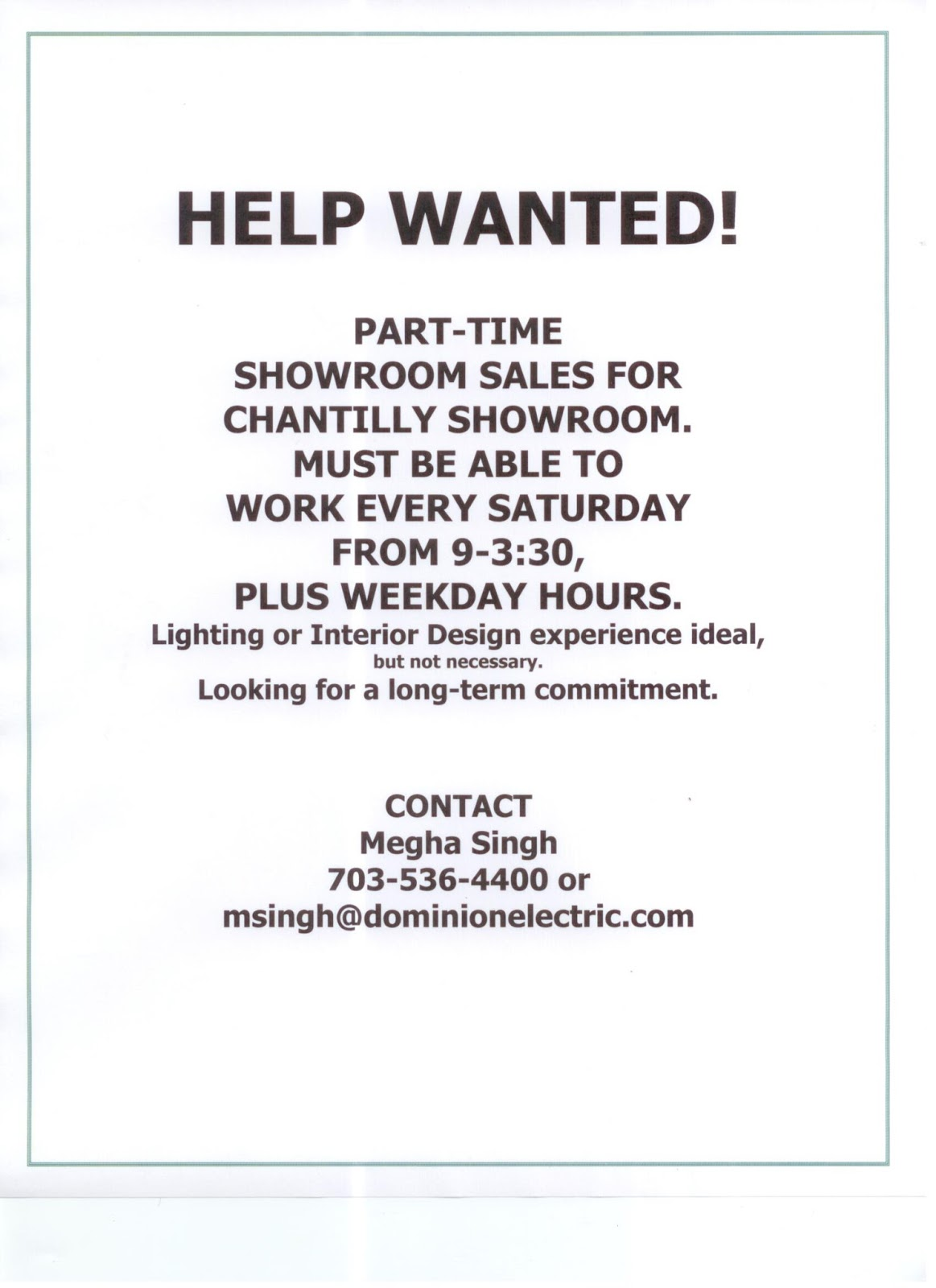 Dominion Electric Lighting Blog  Help Wanted