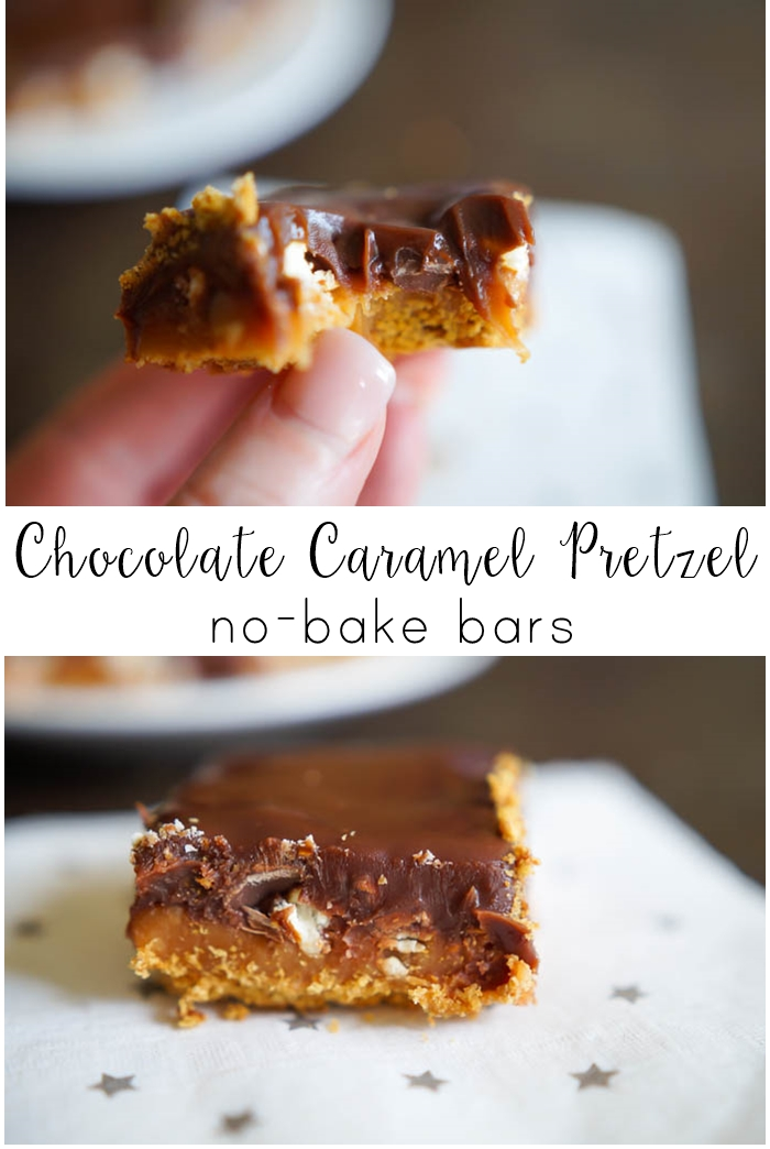 Chocolate Caramel Pretzel No-Bake Bars | gooey, sweet, salty perfection from bakeat350.net